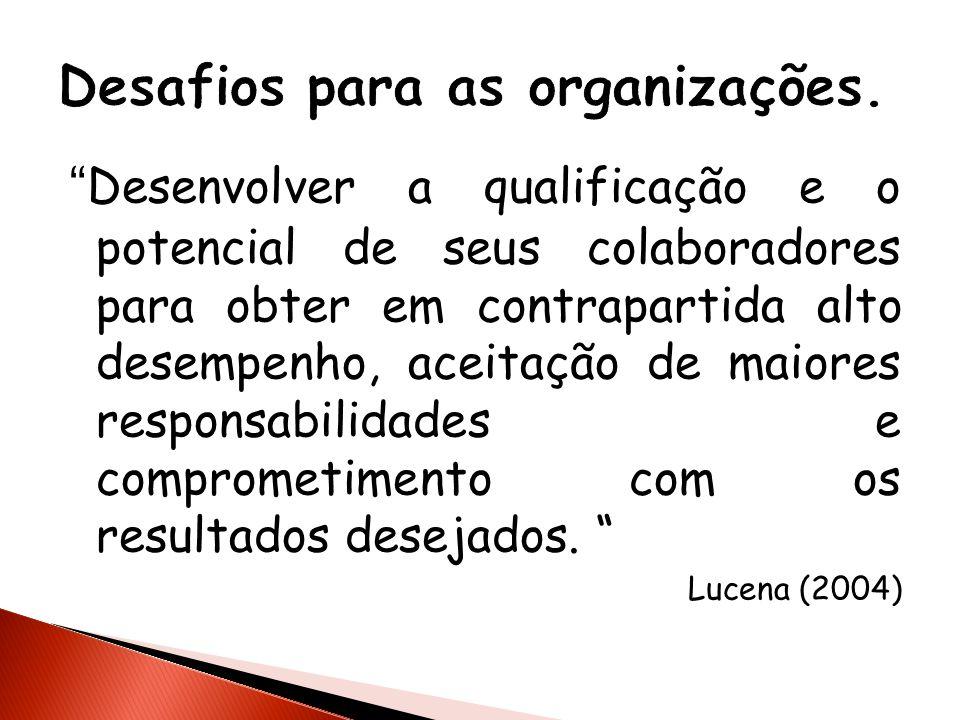 Desenvolver a qualificação e o potencial de seus colaboradores para obter em contrapartida alto desempenho, aceitação de maiores responsabilidades e c