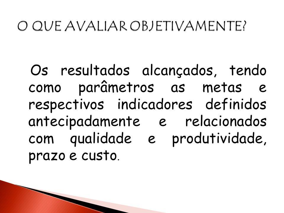 Os resultados alcançados, tendo como parâmetros as metas e respectivos indicadores definidos antecipadamente e relacionados com qualidade e produtivid