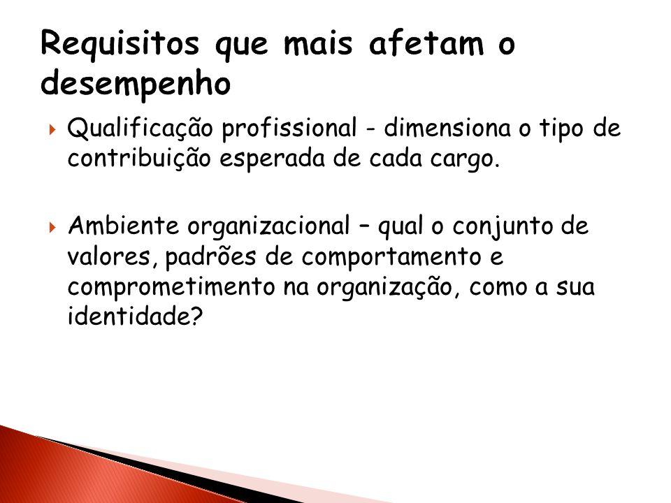 Qualificação profissional - dimensiona o tipo de contribuição esperada de cada cargo. Ambiente organizacional – qual o conjunto de valores, padrões de