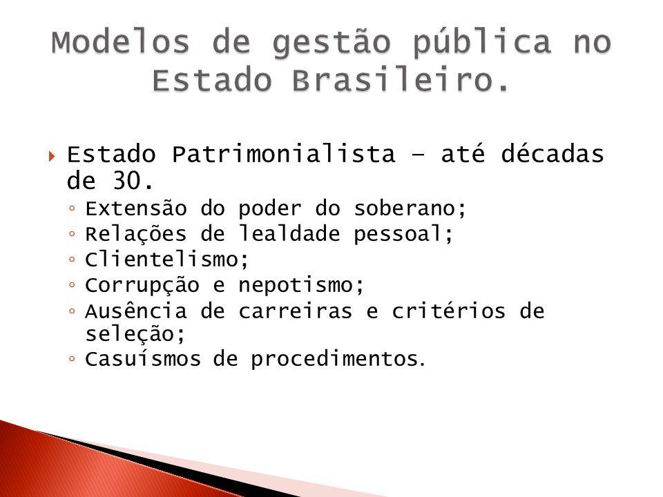 Modelo de gestão burocrático – Impessoalidade; Formalismo; Divisão do trabalho; Hierarquia funcional; Competência técnica baseada em um sistema de mérito; Modelos de gestão pública no Estado Brasileiro.