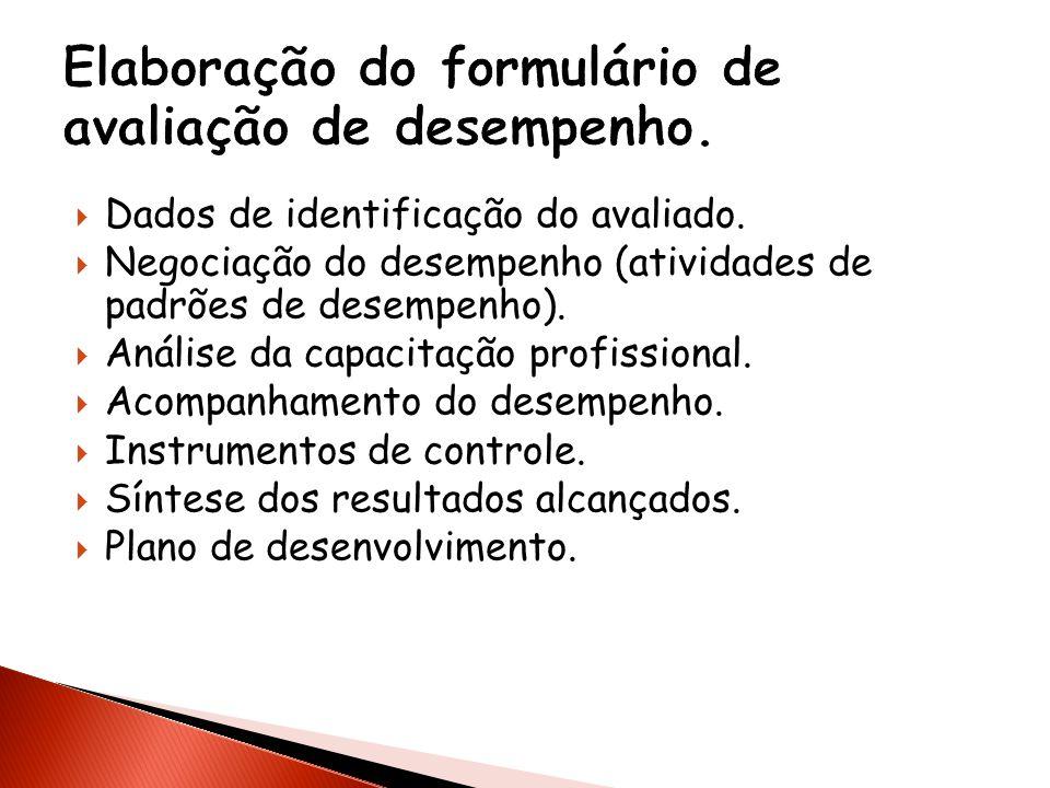 Dados de identificação do avaliado. Negociação do desempenho (atividades de padrões de desempenho). Análise da capacitação profissional. Acompanhament