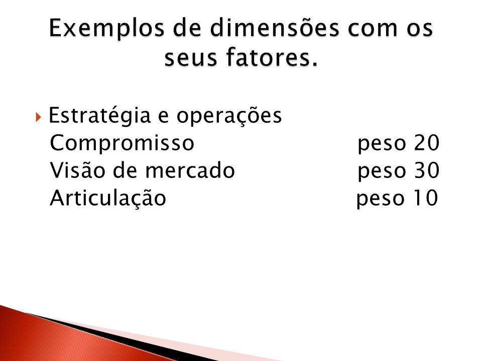 Estratégia e operações Compromisso peso 20 Visão de mercado peso 30 Articulação peso 10