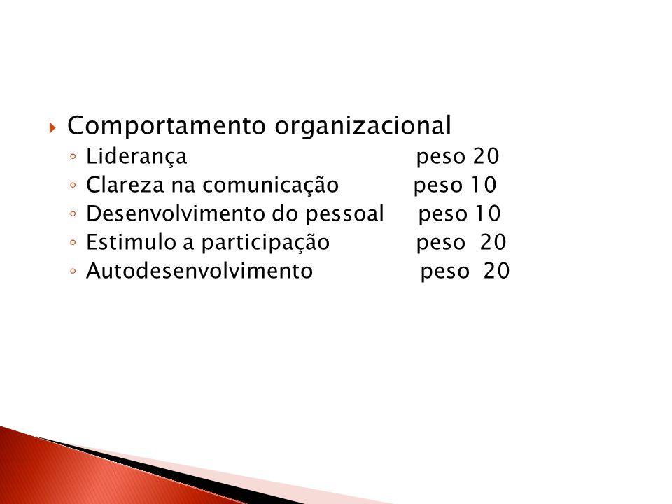 Comportamento organizacional Liderança peso 20 Clareza na comunicação peso 10 Desenvolvimento do pessoal peso 10 Estimulo a participação peso 20 Autod