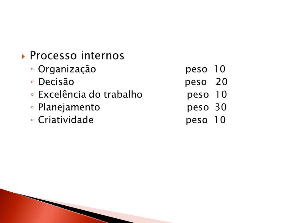 Processo internos Organização peso 10 Decisão peso 20 Excelência do trabalho peso 10 Planejamento peso 30 Criatividade peso 10