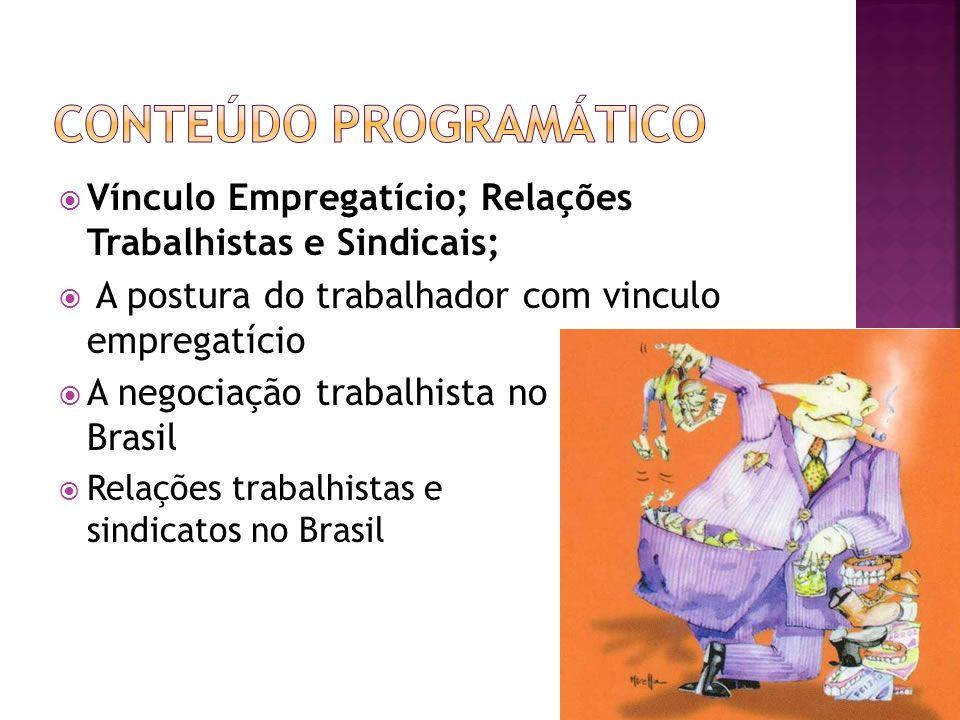 Vínculo Empregatício; Relações Trabalhistas e Sindicais; A postura do trabalhador com vinculo empregatício A negociação trabalhista no Brasil Relações