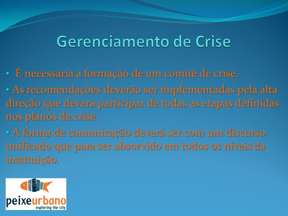 É necessária a formação de um comitê de crise. É necessária a formação de um comitê de crise. As recomendações deverão ser implementadas pela alta dir