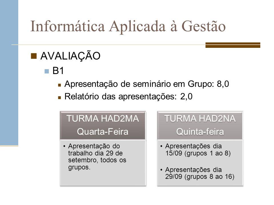 Informática Aplicada à Gestão B2 Trabalho individual formatado nas normas ABNT: 10,0 – entrega dia 10 de novembro TURMA HAD2MA Quarta-Feira Entrega do trabalho dia 23 de novembro.