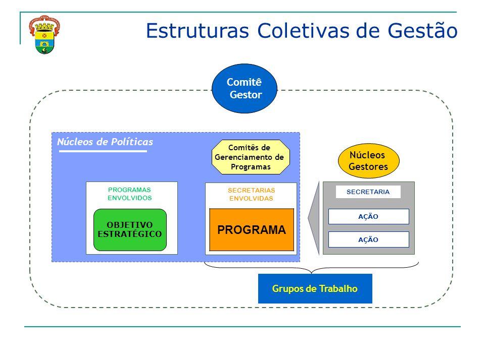 Estruturas Coletivas de Gestão AÇÃO SECRETARIA PROGRAMAS ENVOLVIDOS Grupos de Trabalho Núcleos Gestores Núcleos de Políticas Comitês de Gerenciamento