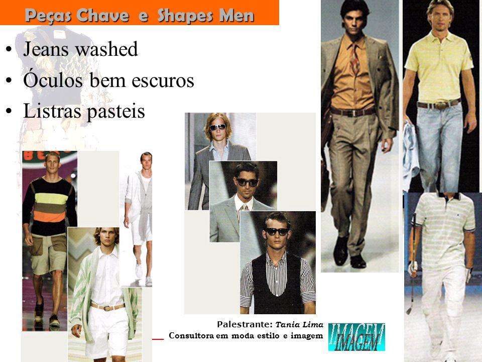 Palestrante: Tania Lima _____________________ C onsultora em moda estilo e imagemPeças-Chave TRAPÉZIO SAIA TULIPA WAIST - Cintura alta SHORTS METAL PANTS LISTRAS & POIS BALONÊ BIG BAGS
