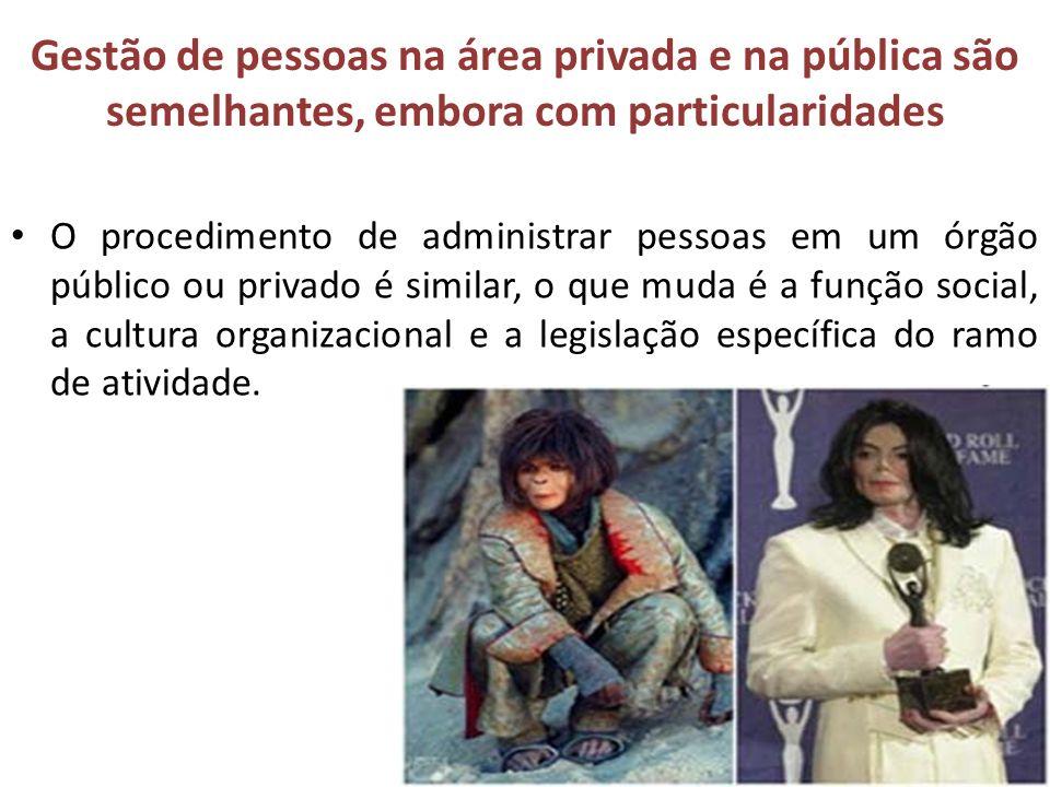Gestão de pessoas na área privada e na pública são semelhantes, embora com particularidades Na verdade, nos últimos anos a administração pública passou a se inspirar nos modelos de gestão privada para modernizar suas políticas públicas.