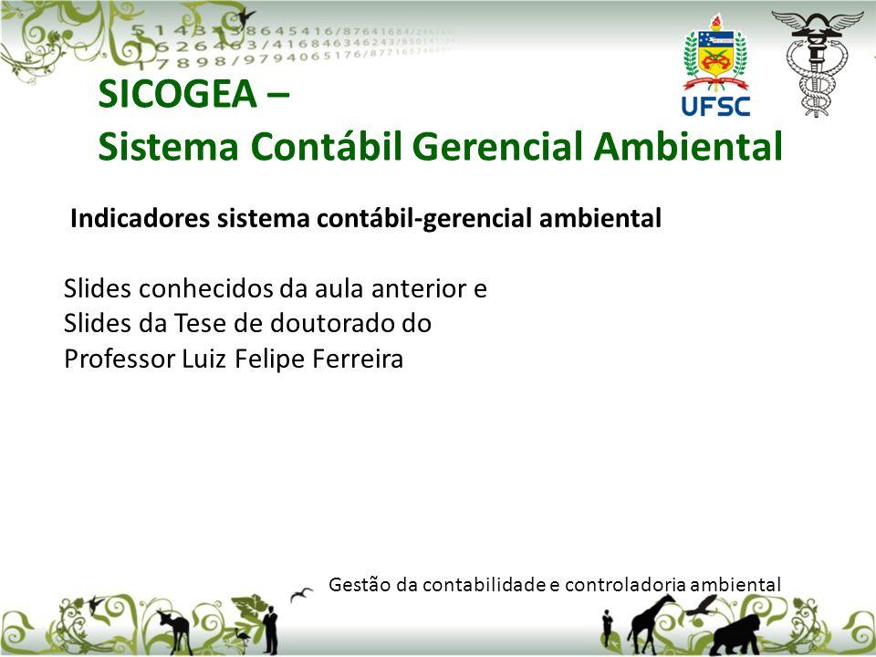 SICOGEA – Sistema Contábil Gerencial Ambiental Gestão da contabilidade e controladoria ambiental Indicadores sistema contábil-gerencial ambiental Slid