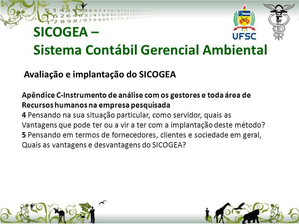 SICOGEA – Sistema Contábil Gerencial Ambiental Avaliação e implantação do SICOGEA Apêndice C-Instrumento de análise com os gestores e toda área de Rec