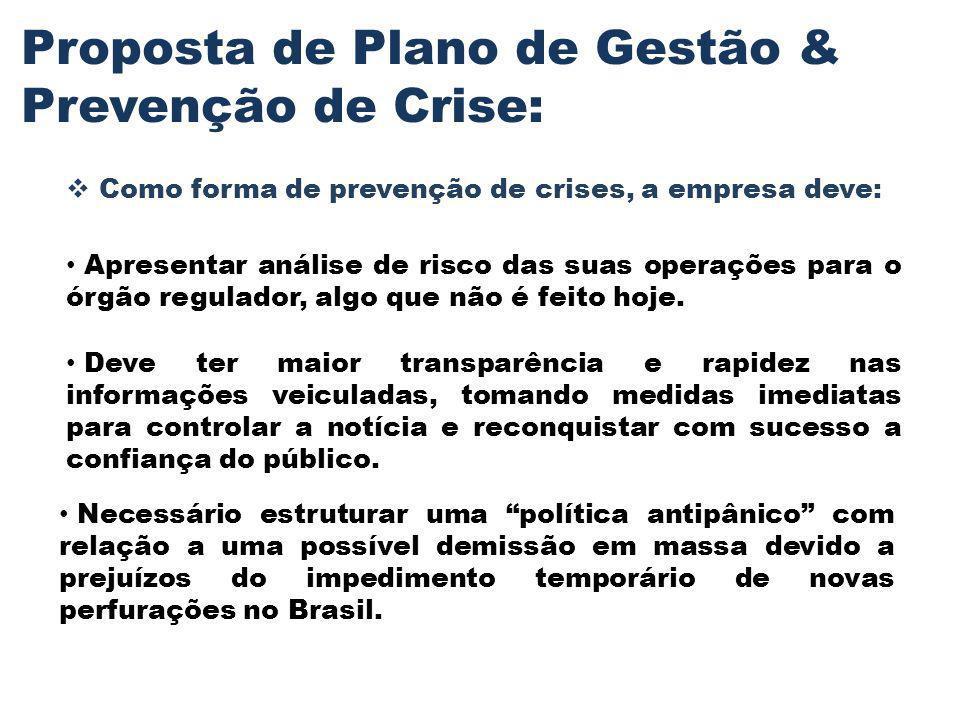 Proposta de Plano de Gestão & Prevenção de Crise: Como forma de prevenção de crises, a empresa deve: Apresentar análise de risco das suas operações pa