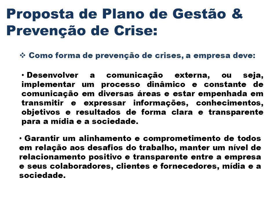 Proposta de Plano de Gestão & Prevenção de Crise: Como forma de prevenção de crises, a empresa deve: Desenvolver a comunicação externa, ou seja, imple