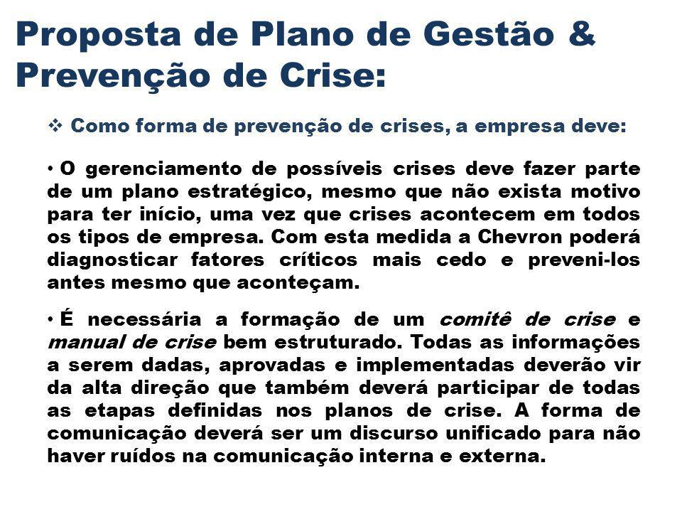 Proposta de Plano de Gestão & Prevenção de Crise: Como forma de prevenção de crises, a empresa deve: O gerenciamento de possíveis crises deve fazer pa