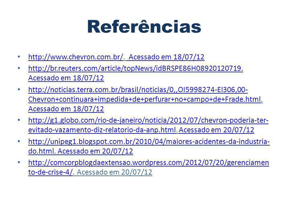 Referências http://www.chevron.com.br/. Acessado em 18/07/12 http://www.chevron.com.br/ Acessado em 18/07/12 http://br.reuters.com/article/topNews/idB