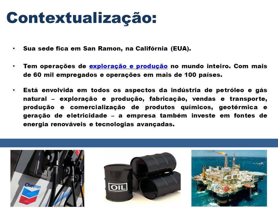Contextualização: Atualmente a Chevron Brasil Petróleo participa de três projetos em águas profundas.