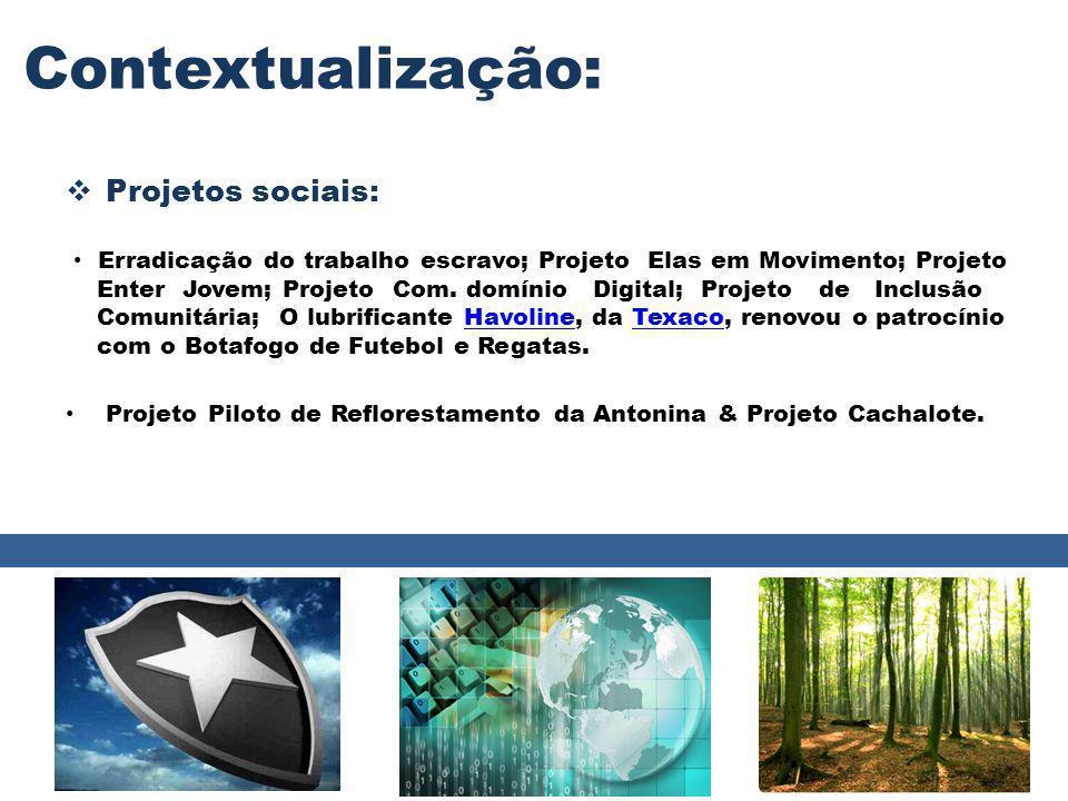 Contextualização: Projetos sociais: Erradicação do trabalho escravo; Projeto Elas em Movimento; Projeto Enter Jovem; Projeto Com. domínio Digital; Pro