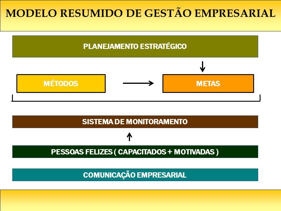 MODELO RESUMIDO DE GESTÃO EMPRESARIAL PLANEJAMENTO ESTRATÉGICO MÉTODOSMETAS SISTEMA DE MONITORAMENTO PESSOAS FELIZES ( CAPACITADOS + MOTIVADAS ) COMUNICAÇÃO EMPRESARIAL