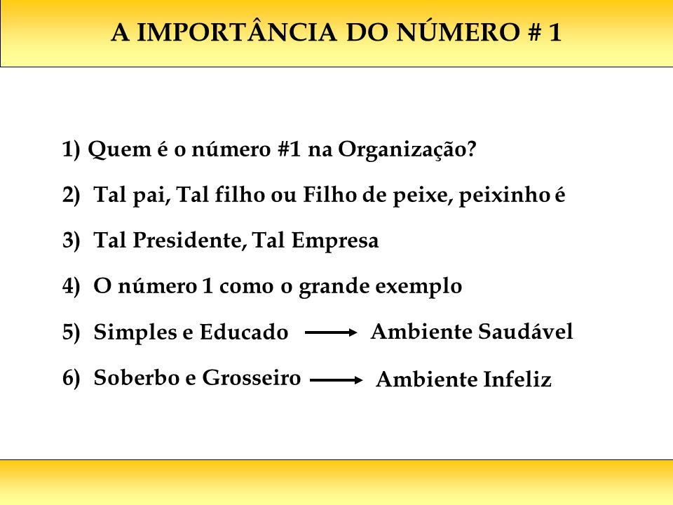 A IMPORTÂNCIA DO NÚMERO # 1 1)Quem é o número #1 na Organização? 2) Tal pai, Tal filho ou Filho de peixe, peixinho é 3) Tal Presidente, Tal Empresa 4)
