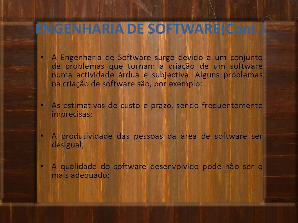ENGENHARIA DE SOFTWARE(Cont.) A Engenharia de Software surge devido a um conjunto de problemas que tornam a criação de um software numa actividade árd