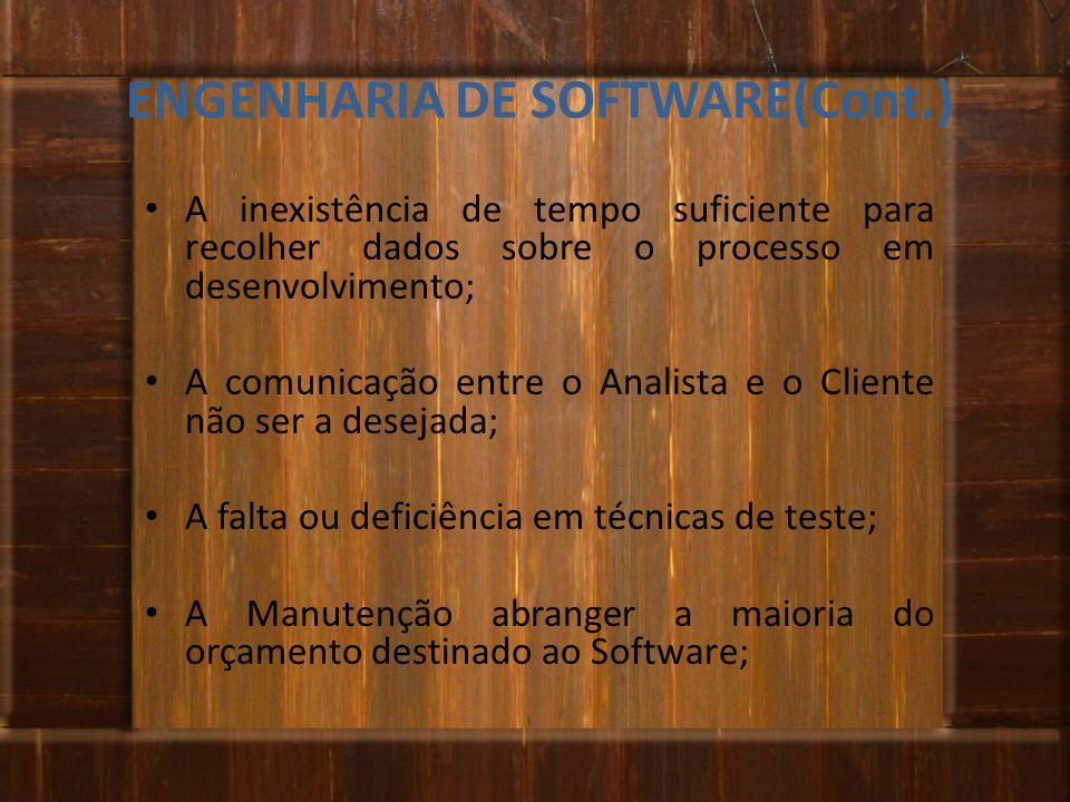 ENGENHARIA DE SOFTWARE(Cont.) A inexistência de tempo suficiente para recolher dados sobre o processo em desenvolvimento; A comunicação entre o Analis