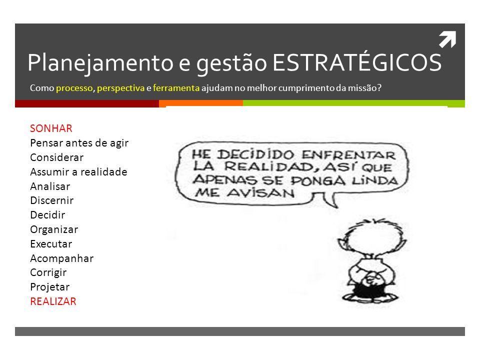 Planejamento e gestão ESTRATÉGICOS Como processo, perspectiva e ferramenta ajudam no melhor cumprimento da missão.