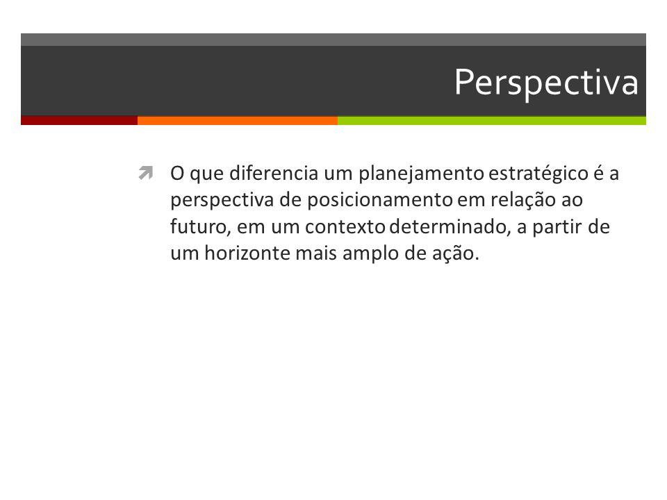 Perspectiva O que diferencia um planejamento estratégico é a perspectiva de posicionamento em relação ao futuro, em um contexto determinado, a partir