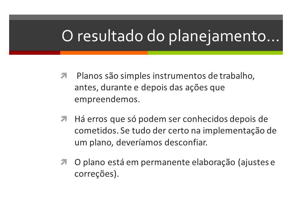 O resultado do planejamento... Planos são simples instrumentos de trabalho, antes, durante e depois das ações que empreendemos. Há erros que só podem