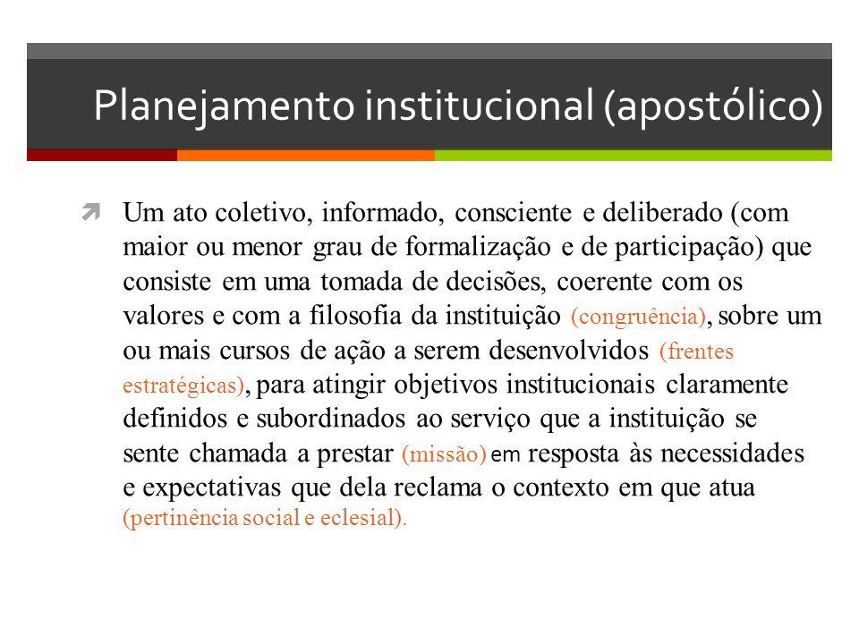 Planejamento institucional (apostólico) Um ato coletivo, informado, consciente e deliberado (com maior ou menor grau de formalização e de participação) que consiste em uma tomada de decisões, coerente com os valores e com a filosofia da instituição (congruência), sobre um ou mais cursos de ação a serem desenvolvidos (frentes estratégicas), para atingir objetivos institucionais claramente definidos e subordinados ao serviço que a instituição se sente chamada a prestar (missão) em resposta às necessidades e expectativas que dela reclama o contexto em que atua (pertinência social e eclesial).