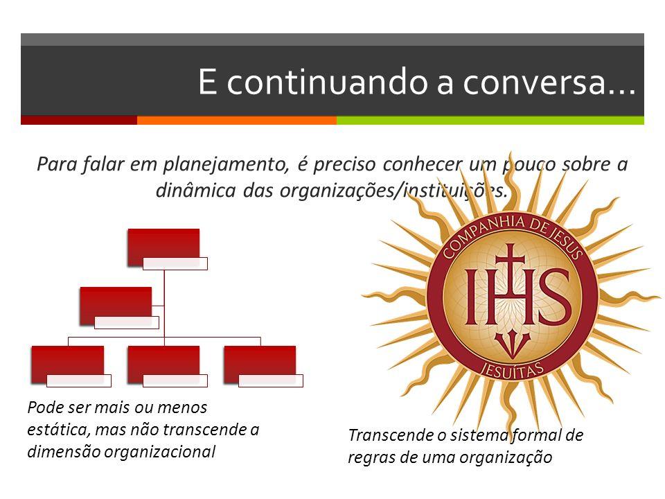 E continuando a conversa... Para falar em planejamento, é preciso conhecer um pouco sobre a dinâmica das organizações/instituições. Transcende o siste