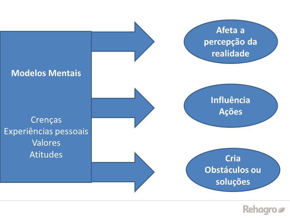 Modelos Mentais Crenças Experiências pessoais Valores Atitudes Influência Ações Afeta a percepção da realidade Cria Obstáculos ou soluções