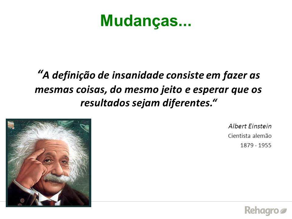 Mudanças... A definição de insanidade consiste em fazer as mesmas coisas, do mesmo jeito e esperar que os resultados sejam diferentes. Albert Einstein