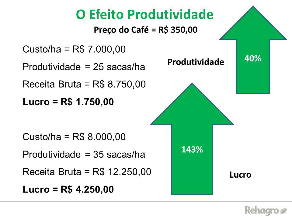 Custo/ha = R$ 7.000,00 Produtividade = 25 sacas/ha Receita Bruta = R$ 8.750,00 Lucro = R$ 1.750,00 Custo/ha = R$ 8.000,00 Produtividade = 35 sacas/ha
