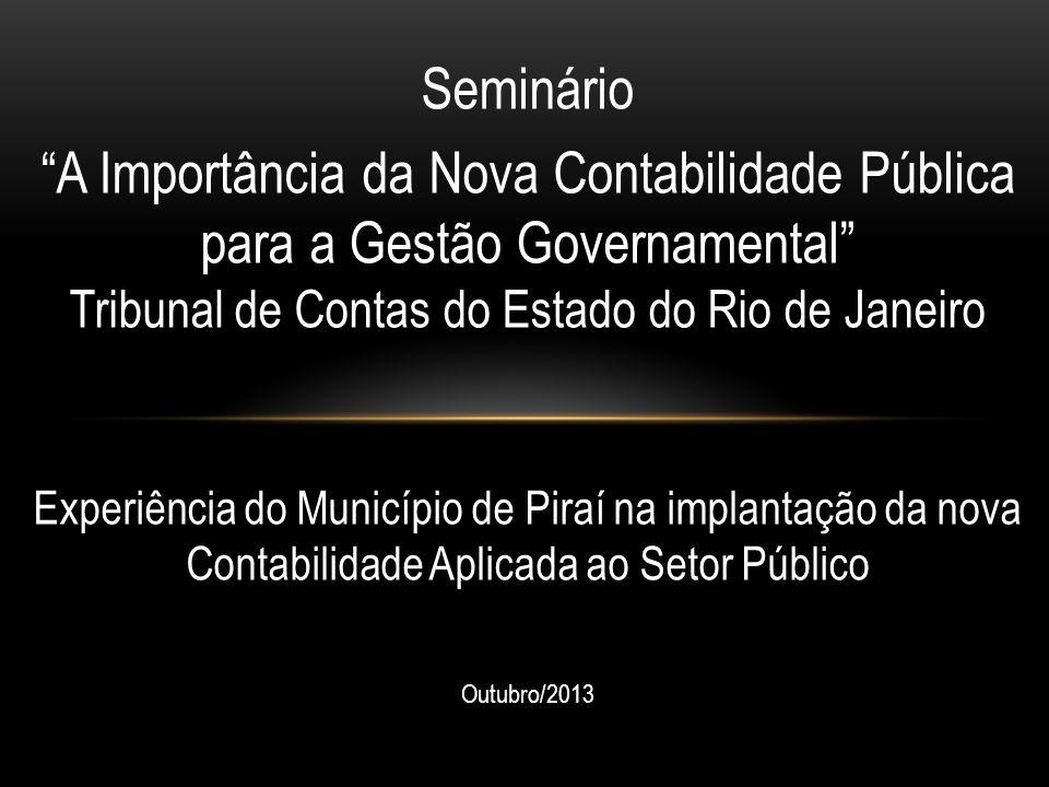 Seminário A Importância da Nova Contabilidade Pública para a Gestão Governamental Tribunal de Contas do Estado do Rio de Janeiro Experiência do Município de Piraí na implantação da nova Contabilidade Aplicada ao Setor Público Outubro/2013