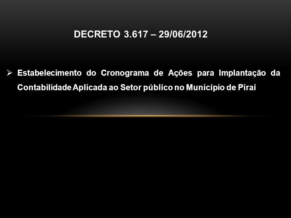 Estabelecimento do Cronograma de Ações para Implantação da Contabilidade Aplicada ao Setor público no Município de Piraí DECRETO 3.617 – 29/06/2012