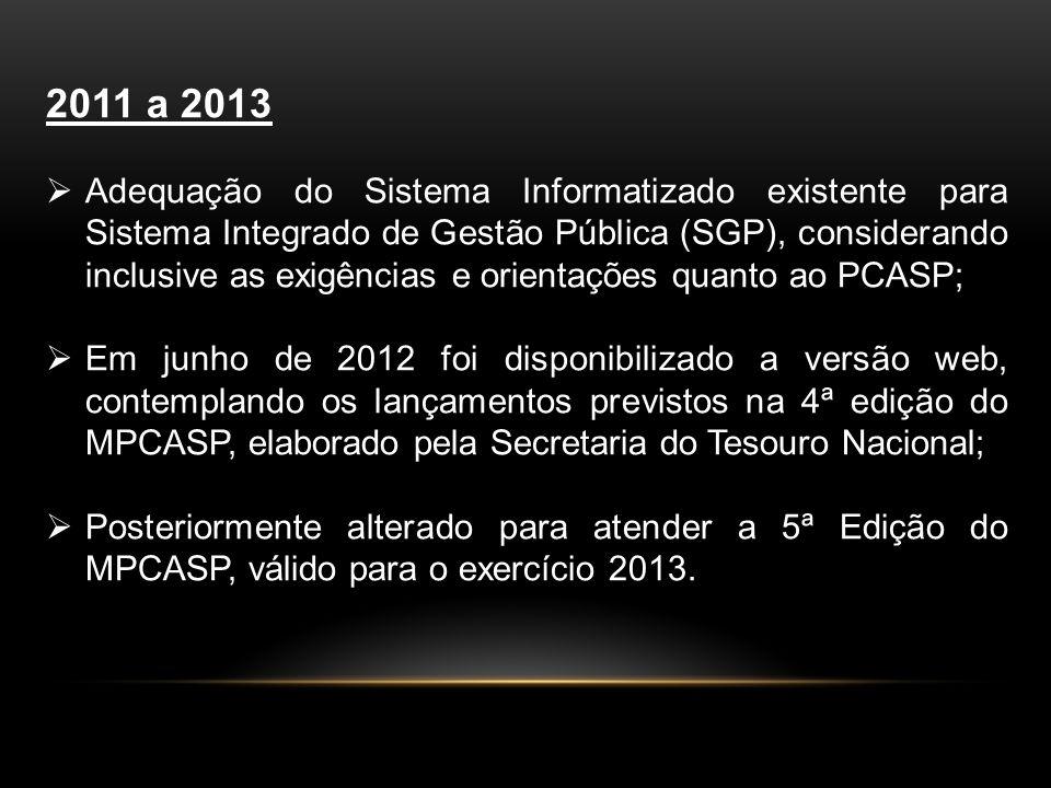 2011 a 2013 Adequação do Sistema Informatizado existente para Sistema Integrado de Gestão Pública (SGP), considerando inclusive as exigências e orientações quanto ao PCASP; Em junho de 2012 foi disponibilizado a versão web, contemplando os lançamentos previstos na 4ª edição do MPCASP, elaborado pela Secretaria do Tesouro Nacional; Posteriormente alterado para atender a 5ª Edição do MPCASP, válido para o exercício 2013.