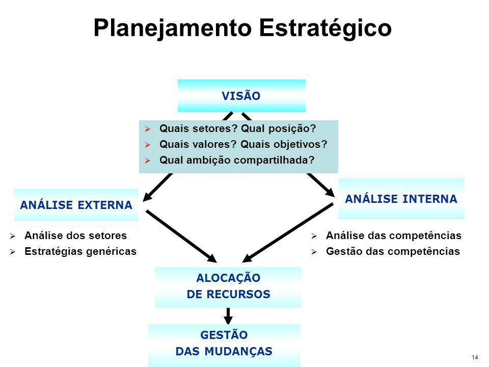 14 VISÃO ALOCAÇÃO DE RECURSOS GESTÃO DAS MUDANÇAS ANÁLISE EXTERNA Análise dos setores Estratégias genéricas ANÁLISE INTERNA Análise das competências G