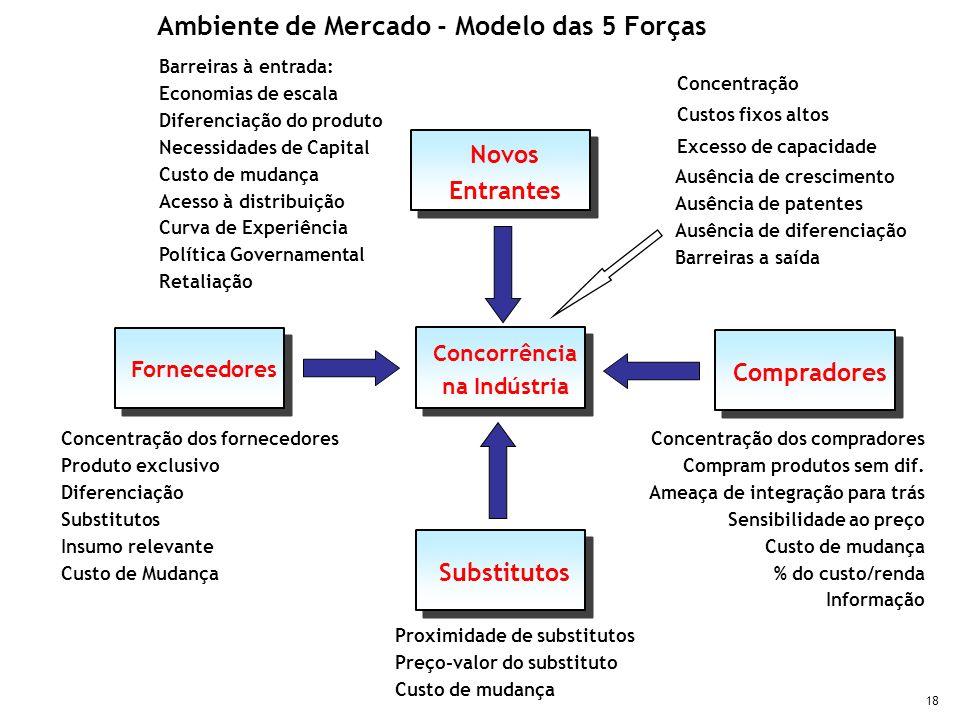 18 Barreiras à entrada: Economias de escala Diferenciação do produto Necessidades de Capital Custo de mudança Acesso à distribuição Curva de Experiênc