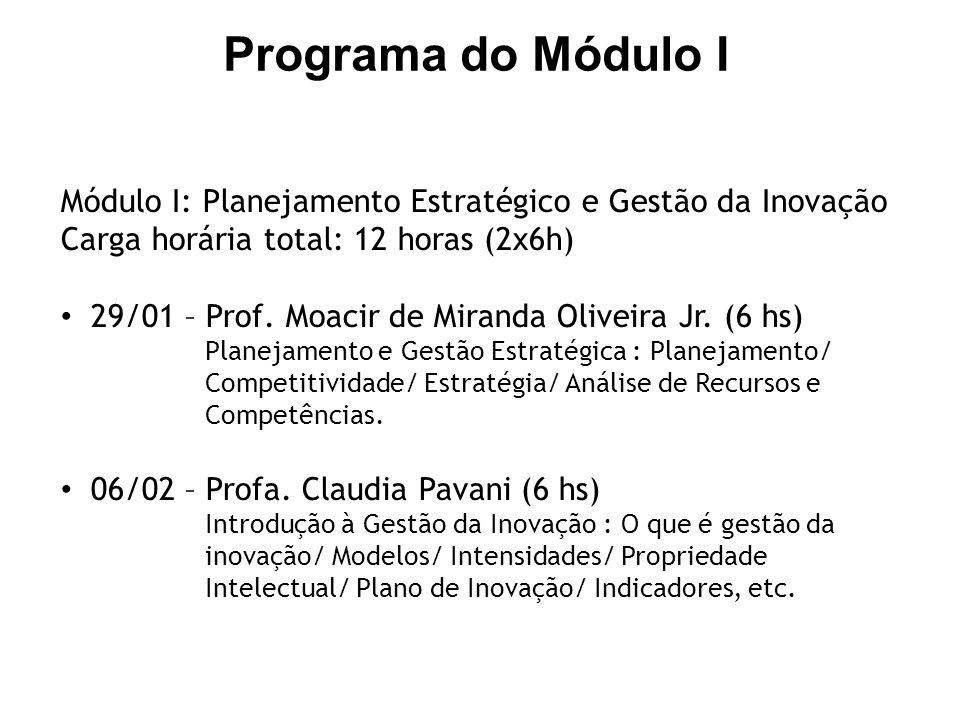 Módulo I: Planejamento Estratégico e Gestão da Inovação Carga horária total: 12 horas (2x6h) 29/01 – Prof. Moacir de Miranda Oliveira Jr. (6 hs) Plane