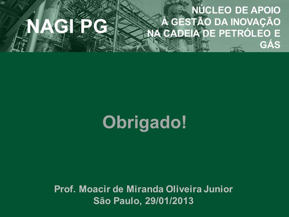 Obrigado! NAGI PG NÚCLEO DE APOIO À GESTÃO DA INOVAÇÃO NA CADEIA DE PETRÓLEO E GÁS Prof. Moacir de Miranda Oliveira Junior São Paulo, 29/01/2013