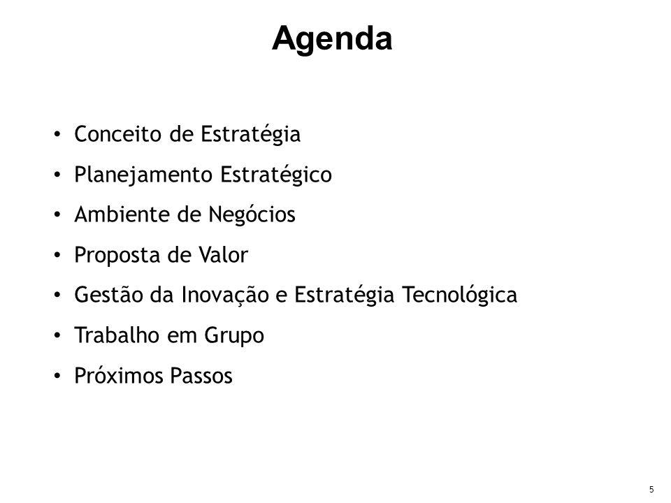5 Conceito de Estratégia Planejamento Estratégico Ambiente de Negócios Proposta de Valor Gestão da Inovação e Estratégia Tecnológica Trabalho em Grupo Próximos Passos Agenda