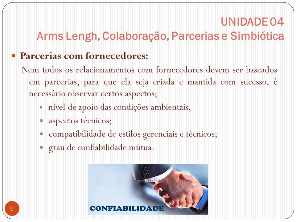 UNIDADE 04 Arms Lengh, Colaboração, Parcerias e Simbiótica Parcerias com fornecedores: Nem todos os relacionamentos com fornecedores devem ser baseado