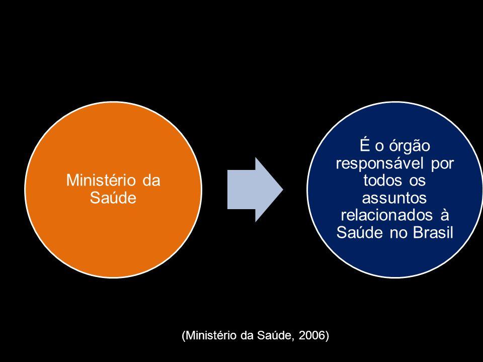 Ministério da Saúde É o órgão responsável por todos os assuntos relacionados à Saúde no Brasil (Ministério da Saúde, 2006)