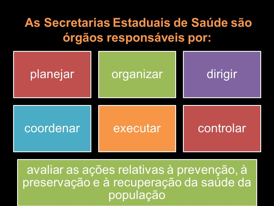 As Secretarias Estaduais de Saúde são órgãos responsáveis por: As Secretarias Estaduais de Saúde são órgãos responsáveis por: planejarorganizardirigir