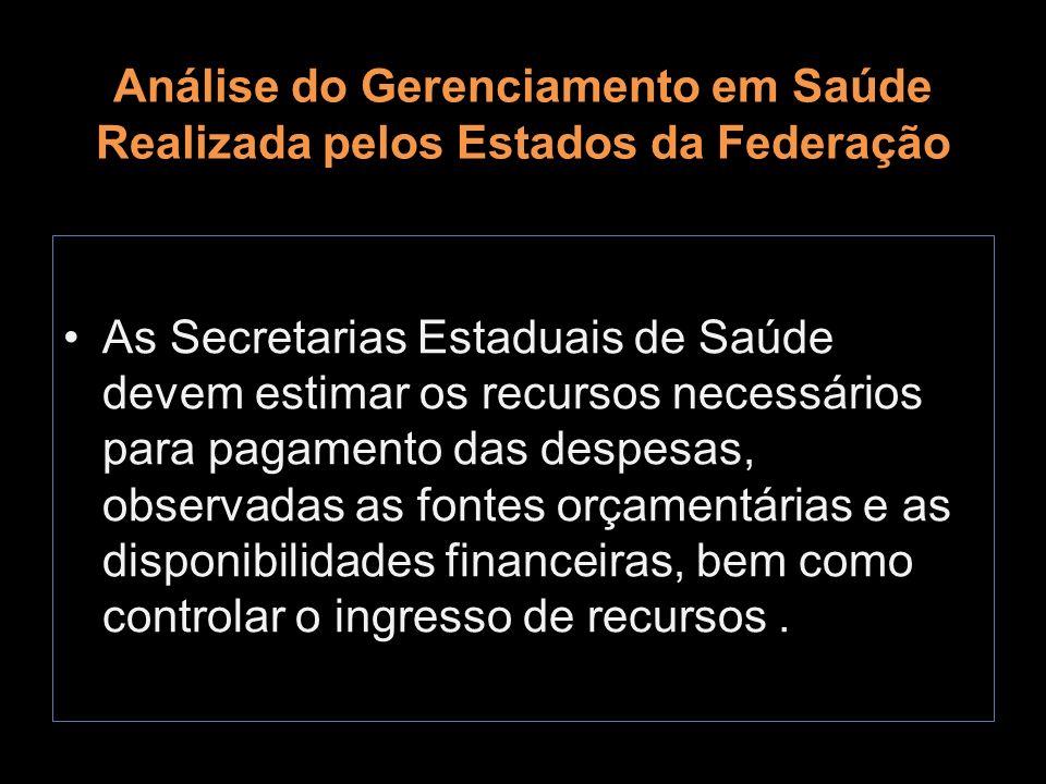Análise do Gerenciamento em Saúde Realizada pelos Estados da Federação As Secretarias Estaduais de Saúde devem estimar os recursos necessários para pa