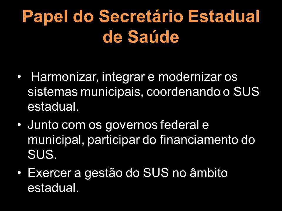 Papel do Secretário Estadual de Saúde Harmonizar, integrar e modernizar os sistemas municipais, coordenando o SUS estadual. Junto com os governos fede