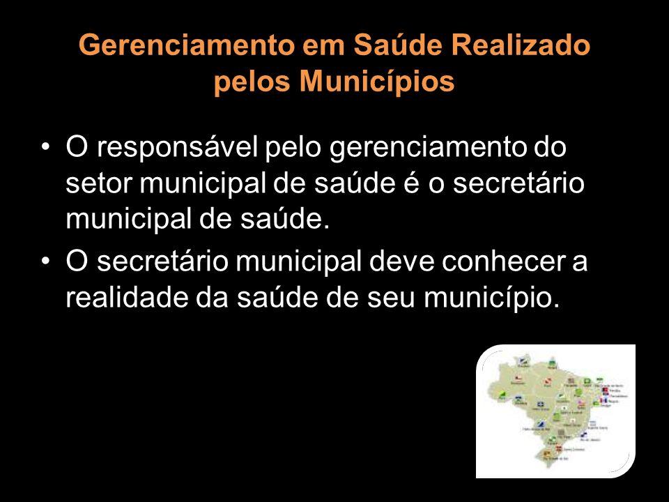 Gerenciamento em Saúde Realizado pelos Municípios O responsável pelo gerenciamento do setor municipal de saúde é o secretário municipal de saúde. O se