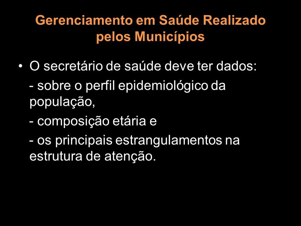 Gerenciamento em Saúde Realizado pelos Municípios O secretário de saúde deve ter dados: - sobre o perfil epidemiológico da população, - composição etá