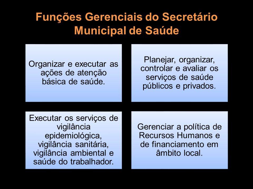Funções Gerenciais do Secretário Municipal de Saúde Organizar e executar as ações de atenção básica de saúde. Planejar, organizar, controlar e avaliar
